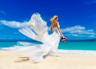wedding 320x231 - Beautiful Blond Fiancee In White Wedding Dress With Big Long Whi