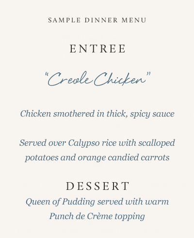 menu 2 - Kitchen services