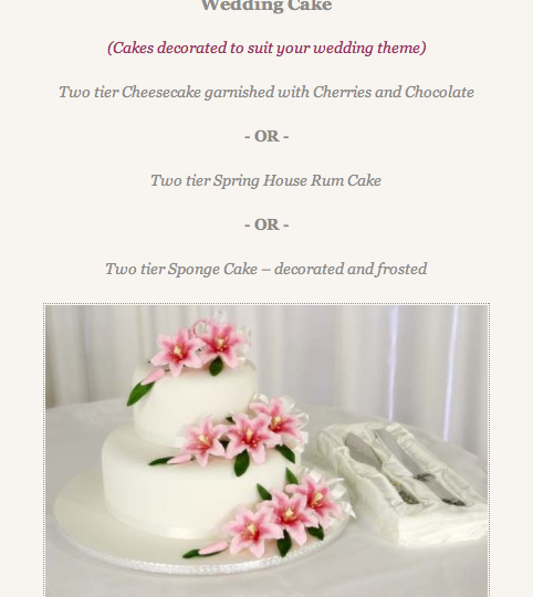 wedding cake menu 482x540 - Destination Weddings
