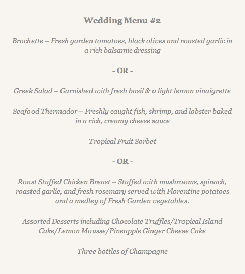 wedding sample menu 2 482x540 - Destination Weddings